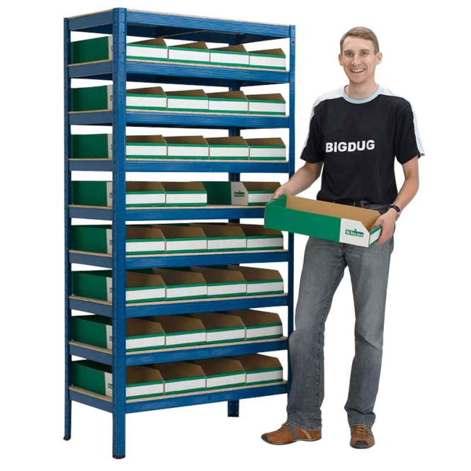 Storage Bays with Flat Pack Cardboard Bins