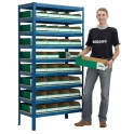 Storage Bays with Flat Pack Cardboard Bins