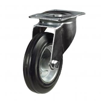 Top Plate 24 Series Castors With Black Rubber Wheels On Steel