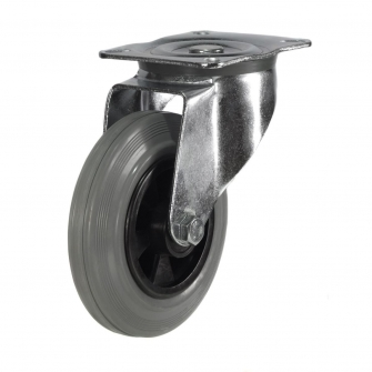 Top Plate 25 Series Castors With Grey Rubber Non-Marking Wheels