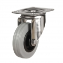 Top Plate 39 Series Castors With Grey Rubber Non-Marking Wheels Stainless Steel Bracket
