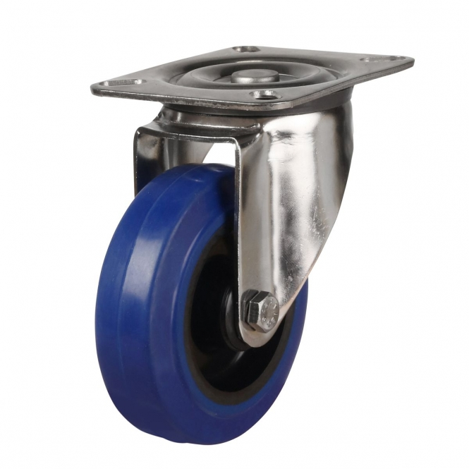 Top Plate 41 Series Castors With Blue Rubber Non-Marking Wheels Stainless Steel Bracket