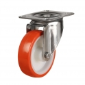 Top Plate 43 Series Castors With Polyurethane Wheels Stainless Steel Bracket