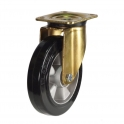 Top Plate 47 Series Castors With Black Rubber On Aluminium Wheels