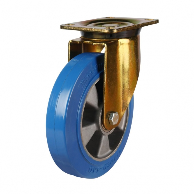 Top Plate 56 Series Castors With Blue Polyurethane On Aluminium Wheels