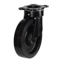 Top Plate 82 Series Castors With Black Rubber On Cast Iron Wheels Fabricated Bracket