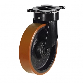 Top Plate 87 Series Castors With Polyurethane On Cast Iron Wheels Fabricated Bracket