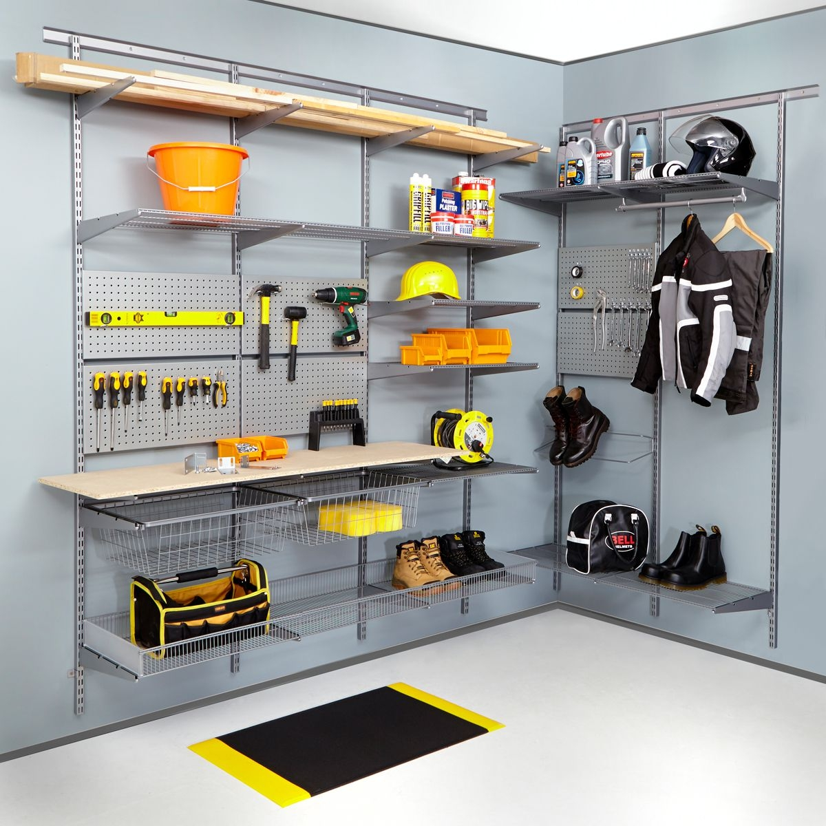 Top Track Wall Mounted Shelving Silver Components - Garage Shelving
