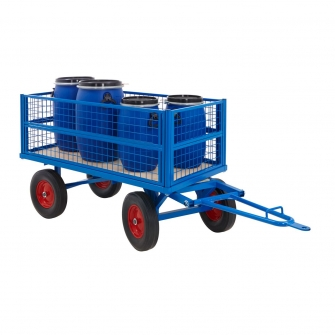 Turntable Platform Truck With Full Height Mesh Sides And Choice Of Wheels