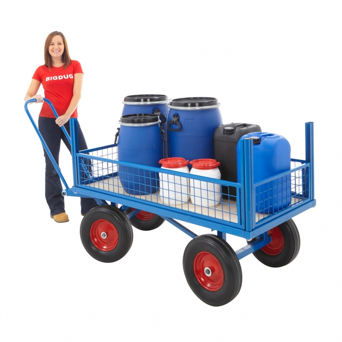 Turntable Platform Truck With Half Height Mesh Sides And Choice Of Wheels