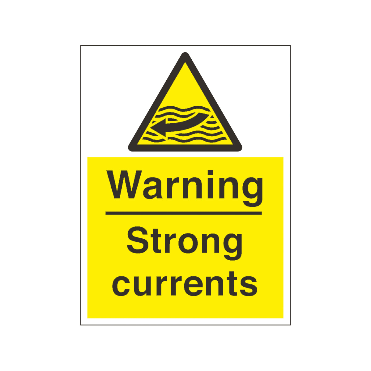 Warning Strong Currents Safety Sign Water Safety From