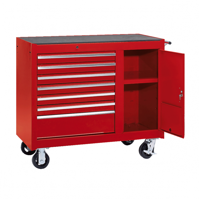 Workshop Tool Trolley with 7 Drawers and a Vertical Storage Unit