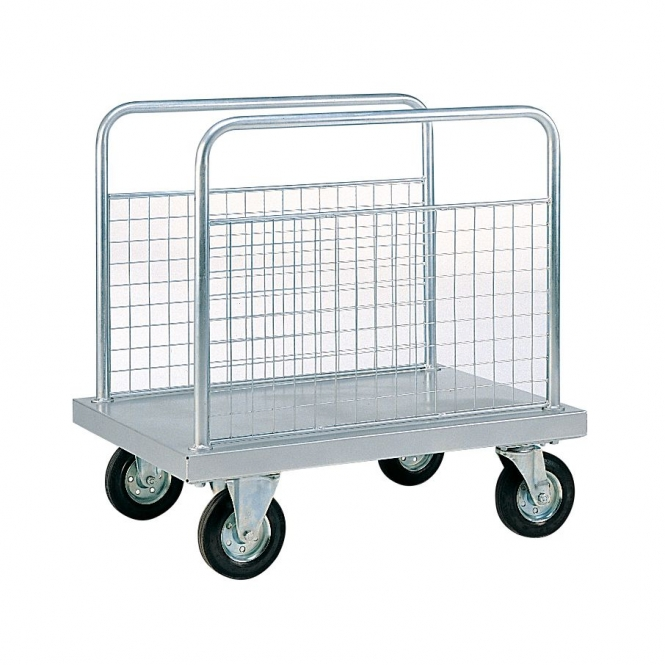 Zinc Plated Platform Truck with Two Mesh Side Panels